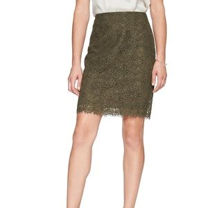 Banana Republic Olive, Knit Lace Pencil Skirt